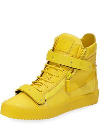 Baskets montantes en cuir jaunes
