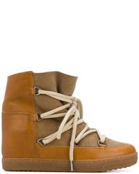 Baskets montantes en cuir marron clair Isabel Marant