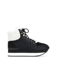 Baskets montantes en cuir matelassées noires Trussardi Jeans