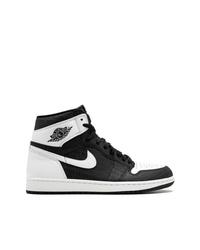 Baskets montantes en cuir noires et blanches Jordan