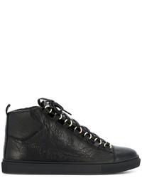 Baskets montantes en cuir noires Balenciaga