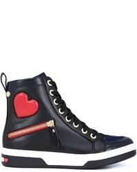 Baskets montantes en cuir noires Love Moschino