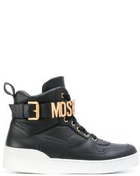 Baskets montantes en cuir noires Moschino