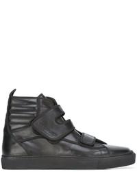 Baskets montantes en cuir noires Raf Simons