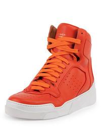 Baskets montantes en cuir orange