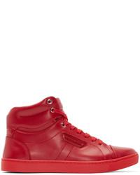 Baskets montantes en cuir rouges Dolce & Gabbana