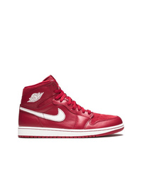 Baskets montantes en cuir rouges Jordan