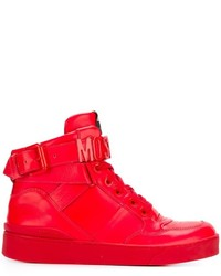 Baskets montantes en cuir rouges Moschino