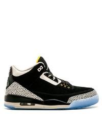 Baskets montantes en daim imprimées noires Jordan