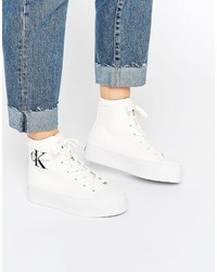 Baskets montantes en toile blanches Calvin Klein Jeans