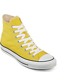 Baskets montantes en toile jaunes