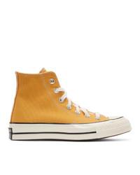 Baskets montantes en toile jaunes Converse