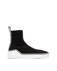 Baskets montantes en toile noires et blanches Givenchy