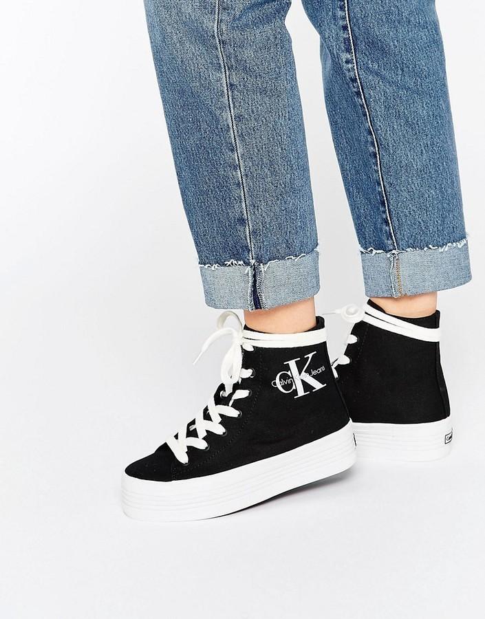 lowest discount reasonably priced huge discount Baskets montantes en toile noires Calvin Klein Jeans