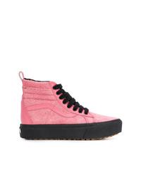 Baskets montantes en toile roses Vans