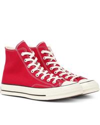 Baskets montantes en toile rouges Converse