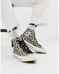 Baskets montantes imprimées léopard blanches Converse