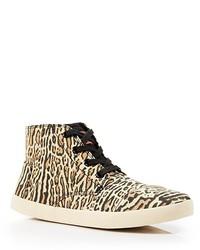 Baskets montantes imprimées léopard marron clair