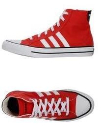 Baskets montantes rouge et blanc