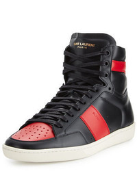 Baskets montantes rouges et noires Saint Laurent