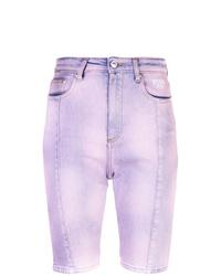 Bermuda en denim imprimé tie-dye violet clair MSGM