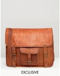 Besace en cuir marron Reclaimed Vintage