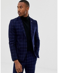 Blazer à carreaux bleu marine AVAIL London