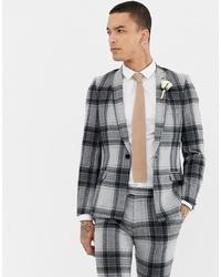 Blazer à carreaux gris Twisted Tailor