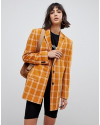 Blazer à carreaux marron clair ASOS DESIGN