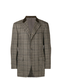 Blazer à carreaux marron Canali