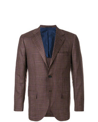 Blazer à carreaux marron Kiton