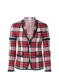 Blazer à carreaux rouge Thom Browne