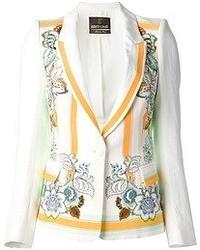 Blazer à fleurs blanc Roberto Cavalli