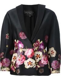 Blazer à fleurs noir