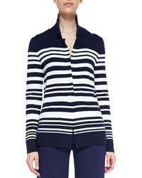 Blazer à rayures horizontales blanc et bleu marine