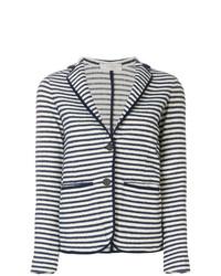 Blazer à rayures horizontales blanc et bleu marine Zanone
