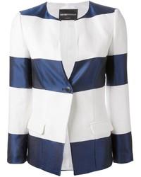 Blazer à rayures horizontales blanc et bleu Emporio Armani