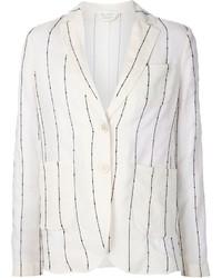 Blazer à rayures horizontales blanc Brunello Cucinelli