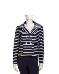 Blazer à rayures horizontales bleu marine et blanc