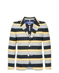Blazer à rayures horizontales bleu marine Junya Watanabe Comme Des Garçons Vintage