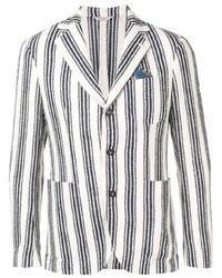 Blazer à rayures verticales blanc et bleu marine Manuel Ritz