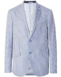 Blazer à rayures verticales blanc et bleu Etro