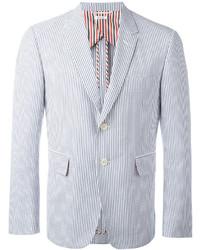 Blazer à rayures verticales blanc et bleu Thom Browne