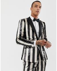 Blazer à rayures verticales blanc et noir ASOS Edition