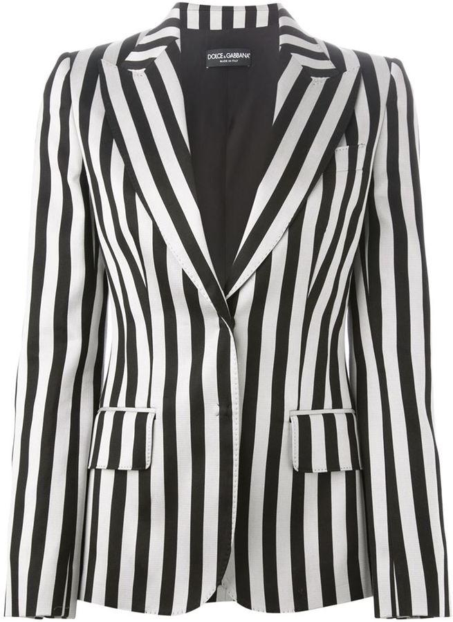 Blazer à rayures verticales blanc et noir Dolce & Gabbana