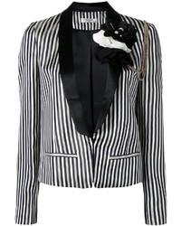 Blazer à rayures verticales blanc et noir Lanvin