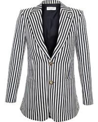 Blazer à rayures verticales blanc et noir Saint Laurent