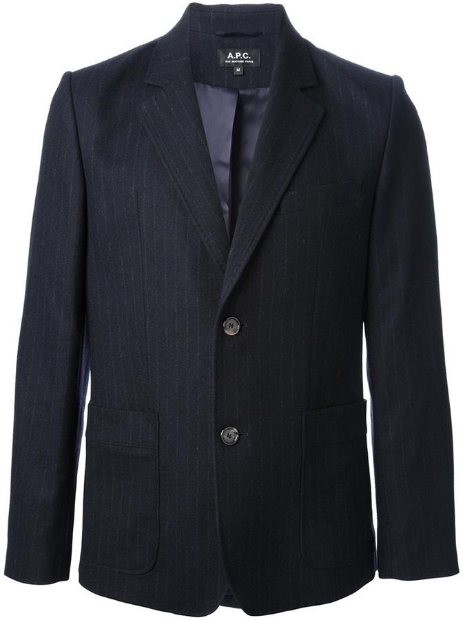 Blazer à rayures verticales bleu marine et blanc A.P.C.