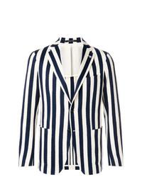 Blazer à rayures verticales bleu marine et blanc Tagliatore