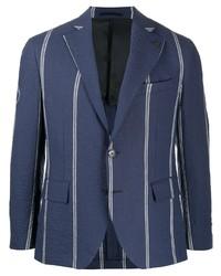 Blazer à rayures verticales bleu marine Gabriele Pasini